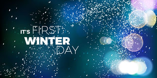 It's first winter day blue vector card. modern dark background. With snow Royalty Free Stock Photography