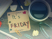 It';s friday concept. It's Friday note on the office table stock images
