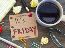 It's Friday. Note on the table stock photography