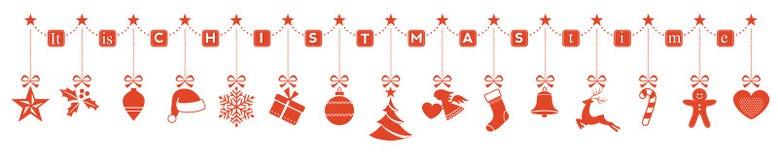 It& x27; s Kerstmistijd, hangende ornamentgrens Stock Fotografie