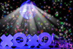X's and O's With Glass Slipper. And Disco Ball Royalty Free Stock Images