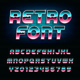 80's retro alphabet font. Metallic effect shiny oblique letters and numbers. Royalty Free Stock Photos