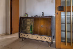 1960& x27;s wooden side board, cabinet. Stock Photos
