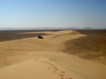 4x4 on sand bank in desert. Trekking in the desert near Siwa Oasis Stock Photography