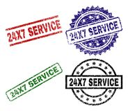 Damaged Textured 24X7 SERVICE Seal Stamps. 24X7 SERVICE seal prints with corroded texture. Black, green,red,blue vector rubber prints of 24X7 SERVICE text with Royalty Free Stock Photography