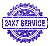 Grunge 24X7 SERVICE Stamp Seal. 24X7 SERVICE stamp watermark with grainy style. Blue vector rubber seal print of 24X7 SERVICE tag with scratched texture Stock Images