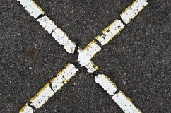 X shape on road royalty free stock photo