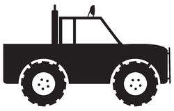 4x4 Silhouette. A 4x4 truck silhouette isolated on a white background Stock Photos