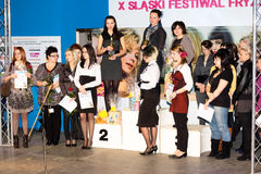 X SLASKI FESTIWAL FRYZJERSKO-KOSMETYCZNY Katowice Immagine Stock Libera da Diritti