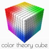 10x10 small cubes makes color gradient in shape of big cube. 3d style vector illustration. 10x10 cubes makes color gradient in shape of big cube. color theory stock illustration