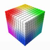 10x10 small cubes makes color gradient in shape of big cube. 3d style vector illustration. 10x10 cubes makes color gradient in shape of big cube. color theory royalty free illustration