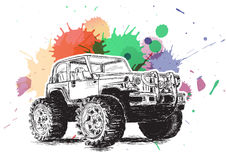 4x4 Sports Utility Vehicle SUV Grunge Vector Illustration Royalty Free Stock Image