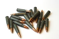 7.62x39 steel cased bullets. A group of 7.62x39 bullets. These are the bullets used in AK-47 and SKS rifles Royalty Free Stock Photo