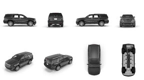 4x4 suv car renders set from different angles on white. 3D illustration. 4x4 suv car renders set from different angles on white background. 3D illustration royalty free illustration