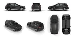 4x4 suv car renders set from different angles on a white. 3D illustration Stock Images