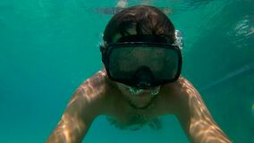 8x times slowmotion shot of a man in a diving mask trainig in a pool.  stock video footage