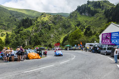 X-tra Caravan - Tour de France 2014. Col du Tourmalet, France - July 24,2014: X`tras caravan during the passing of the Publicity Caravan on the road to Col de royalty free stock image