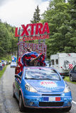 X-TRA Caravan - Tour de France 2014. Col de Platzerwasel,France - July 14, 2014: The vehicles of X-TRA during the passing of the Publicity Caravan in front of stock images