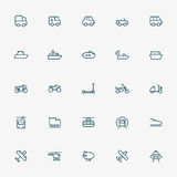 5x5 transportation minimal line icons Stock Image