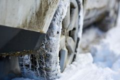 4x4 tyres in snow. Closeup of a 4x4 SUV wheels in the snow Stock Image
