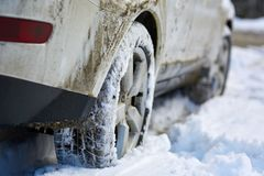 4x4 tyres in snow. Closeup of a 4x4 SUV wheels in the snow Stock Photography