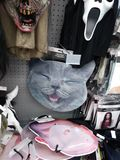 Halloween Mask shopping, I& x27;ll be the large kitty stock images
