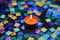 `Zen Bokeh` Votive Candle reflecting in Water Unretouched HD HDR Photo stock photos