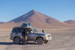 4x4 vehicle crossing the Andean Highlands, Bolivia Royalty Free Stock Photography