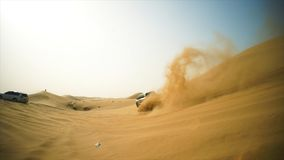 4x4 vehicle driving off road. Stock. Sand dune all-terrain car.  Royalty Free Stock Photography