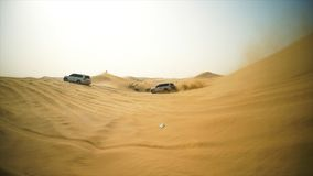 4x4 vehicle driving off road. Stock. Sand dune all-terrain car.  Royalty Free Stock Images