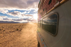 4x4 vehicle oldtimer driving off-road in Morocco Royalty Free Stock Photos