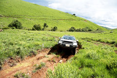 4x4 Vehicle Traveling on Dangerous Dirt Road. In Nyika Plateau, Malawi, Africa Stock Photos