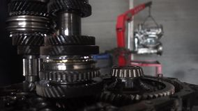 Car transmissions gears close up. 1920x1080. Very nice car transmissions gears close up video stock video footage