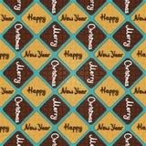 & x27; Vrolijke Kerstmis & Gelukkige Nieuwe Year& x27; cookies& x27; patroon Stock Foto