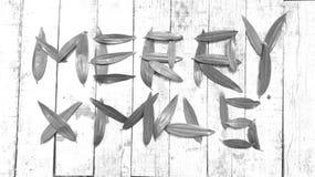 & x22; VROLIJKE XMAS& x22; geschreven met acaciablad tegen een rustieke houten achtergrond Stock Foto's