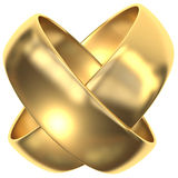 X-Woven Rings. Woven rings, gold, connected rings Royalty Free Stock Photos