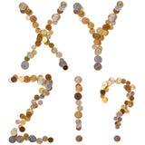 ¡X-Y-Z-! ¿-? letras del alfabeto de las monedas Foto de archivo libre de regalías