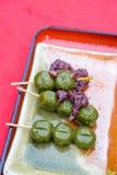 & x28;Yomogi dango& x29; Dango with organic matcha green tea and red bean. & x28;Yomogi dango& x29; Dango with organic matcha green tea and red bean on Royalty Free Stock Photography
