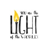 'You are the light of the world'. Inspirational biblical quote written in a textured font Stock Image