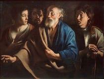 """""""Le Reniement de Saint Pierre"""", Mathieu Le Nain, vers 1655. Musée du Louvre. Royalty Free Stock Photos"""