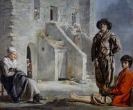 """""""Paysans devant leur maison"""", Louis Le Nain, vers 1641-1642. Museum of Fine Arts, San Francisco. Royalty Free Stock Image"""