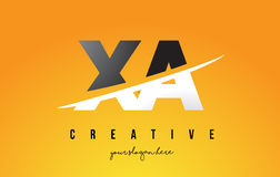 XA X A Letter Modern Logo Design with Yellow Background and Swoo Royalty Free Stock Images