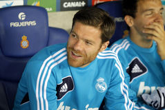 Xabi Alonso of Real Madrid. On the bench  during the Spanish League match between Espanyol and Real Madrid at the Estadi Cornella on May 11, 2013 in Barcelona Stock Photo