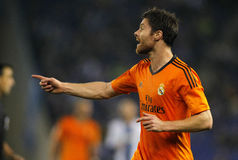 Xabi Alonso of Real Madrid. During the Spanish League match between Espanyol and Real Madrid at the Estadi Cornella on January 12, 2014 in Barcelona, Spain royalty free stock photos