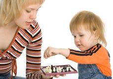 Xadrez bonita do jogo do bebê e da matriz Imagem de Stock
