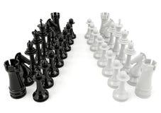 Xadrez branca e preta isolada no fundo branco Fotografia de Stock