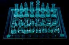 A xadrez de cristal prepara a batalha Fotos de Stock