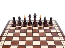 Xadrez de madeira no fundo branco Imagem de Stock Royalty Free