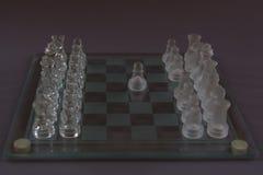 Xadrez do vidro, o começo do jogo fotos de stock royalty free