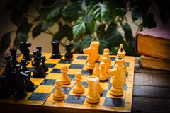 Xadrez do vintage - jogo de mesa Fotografia de Stock